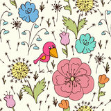 Funny bird and flower. Seamless abstract pattern with stylized funny bird and flower Royalty Free Stock Photography