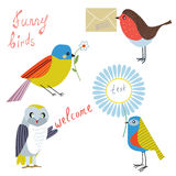Funny bird with message, flowers, letters Royalty Free Stock Images
