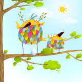 Funny bird on tree family mother and nestling egg kid in nature Stock Photography