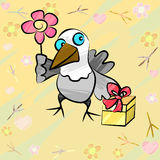 Funny Bird With Gift And Flower Stock Image