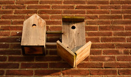 Funny birdhouses stock images