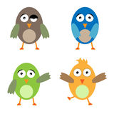 Funny birds. Set of four funny birds isolated on white background.EPS file available stock illustration