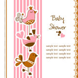Funny birds baby shower. Cute funny birds baby arrival card Stock Image