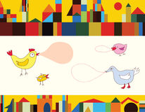 Funny birds and city background. Banner Royalty Free Stock Images