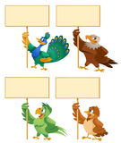 Funny birds holding blank banner. Peacock, eagle, parrot, sparrow. Cartoon styled vector illustration. Elements is grouped. No transparent objects Royalty Free Stock Photography