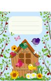 Funny birds near the birdhouse, flowers and cherry. Vector illustration. Colorful  illustration of birds in a flat style near a birdhouse, flowers and cherry Royalty Free Stock Photos