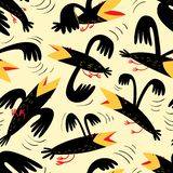 Funny birds seamless pattern.Background with flying isolated crown characters. Vector illustration. In cartoon style for surface design, wrapping paper, fabric royalty free illustration