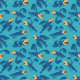 Funny birds seamless pattern.Background with flying isolated crown characters. Vector illustration. In cartoon style for surface design, wrapping paper, fabric vector illustration