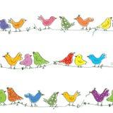Funny birds seamless pattern Stock Photo