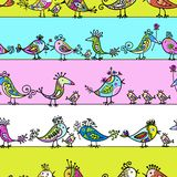 Funny birds, seamless pattern for your design Stock Photo