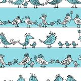 Funny birds, seamless pattern for your design Royalty Free Stock Photography