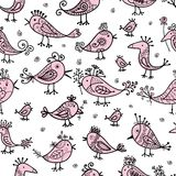 Funny birds, seamless pattern for your design Stock Image