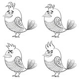 Funny Birds, Set, Contour Stock Image