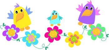 Funny Birds with Spiral Flowers Stock Image