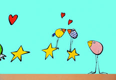 Funny birds,stars and hearts Royalty Free Stock Photography
