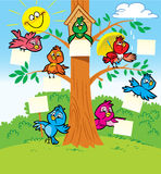 Funny birds on a tree. Several funny cartoon birds  sitting on a tree Stock Photo