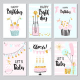 6 funny Birthday Cards Stock Photography