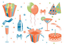 Funny birthday icons Royalty Free Stock Images