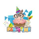 Funny birthday party man Stock Photo