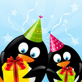 Funny Birthday penguins Stock Images
