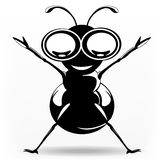 Funny black ant. Black ant rising hand smiling with big eyes Royalty Free Stock Images