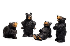 Funny black bears on white background Stock Image