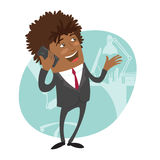 Funny black business man standing on flying paper plane Royalty Free Stock Photography
