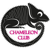 Funny  black cartoon chameleon logo. Royalty Free Stock Photos