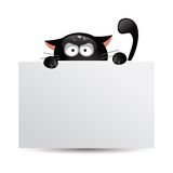 Funny black cat hunts. Vector illustration Royalty Free Stock Image