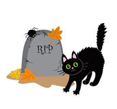 Funny black cat and the tombstone. Halloween. Vector illustration isolated on white background Stock Photo