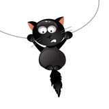 Funny black cat. Vector illustration Stock Photography