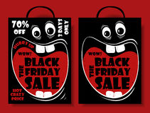 Funny Black Friday Sale Set With Crazy Shopping Bag. Royalty Free Stock Photo