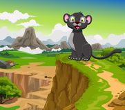 Funny black panther cartoon with mountain landscape background Stock Photography