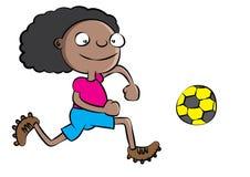Funny black school girl playing soccer Stock Image