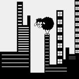 Funny black sheep in the big city Royalty Free Stock Photography
