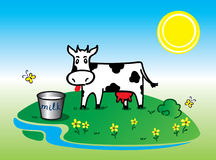 Funny black white cow Vector Royalty Free Stock Images