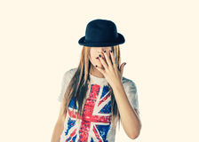 Funny Blond Haired Women Posing In Bowler Hat Stock Photos