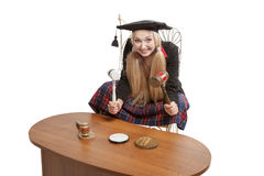 Funny blond judge holding mallets Royalty Free Stock Images