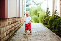 Funny blond toddler boy in summer garden royalty free stock photos