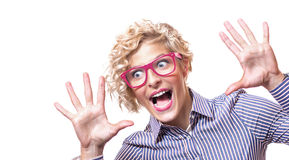 Funny blond young business woman Royalty Free Stock Photography