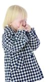 Funny blonde little girl gesturing Royalty Free Stock Images