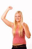 Funny blonde woman Stock Photo