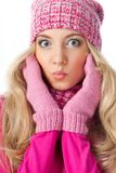 Funny blonde woman wearing knitwear Royalty Free Stock Images