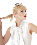 Funny blony business woman. Stock Image