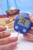 Funny Blood sugar test Royalty Free Stock Photo