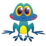 Funny blue acid frog cartoon character. Vector illustration. Design for print, children book illustration or party decoration Royalty Free Stock Image