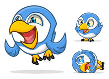 Funny Blue Bird Cartoon Character Royalty Free Stock Photography
