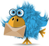 Funny blue bird with envelope. Illustration, very funny blue bird with envelope vector illustration