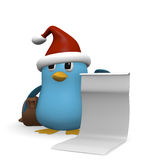 Funny blue bird with a wishlist vector illustration