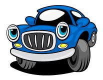 Funny blue car Royalty Free Stock Image
